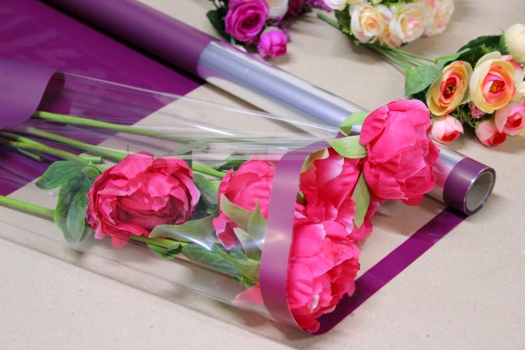 Пленка тонировка для цветов с прозрачным окном 70см*10м Бордовая