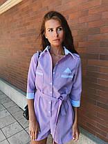 Комбинезон летний с шортами с поясом и карманами габардин, фото 2