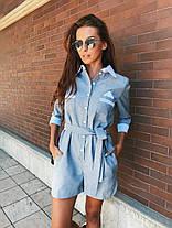 Комбинезон летний с шортами с поясом и карманами габардин, фото 3