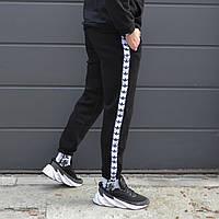Спортивные штаны зимние Adidas (Адидас) с лампасами трехнитка с начесом | брюки теплые на флисе ЛЮКС качества