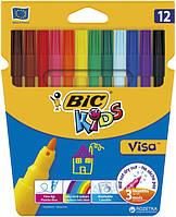 Фломастеры 12 цветов BIC Visa