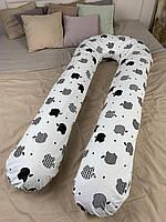 Подушка для беременных и кормления ребенка U-образная подкова обнимашка 100% Хлопок XXXL 170x75 Joykin