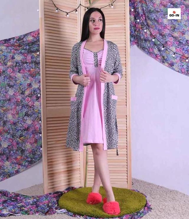 Жіночий комплект в пологовий будинок теплий халат і сорочка, для вагітних і годуючих мам р. 42-54
