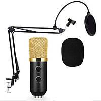Студийный микрофон Music D.J. M800U со стойкой и поп-фильтром Black/Gold