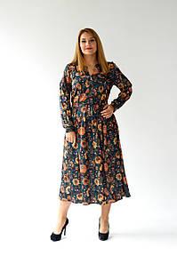 Модне ошатне плаття з шовку з трикотажною підкладкою 48,50,52,54 розміри Зелений