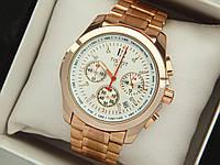 Мужские часы tissot (тисот) с кварцевым хронографом розовое золото, белый циферблат, код 1772, фото 1