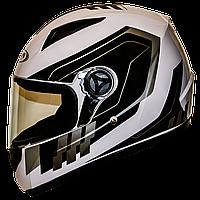 Мотошлем FXW HF-111 solid white-black закрытый шлем интеграл, full-face бело-чёрный