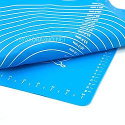 Силиконовый коврик для выпечки антипригарный, большой 70*70 (синий) /  Силіконовий килимок для випічки