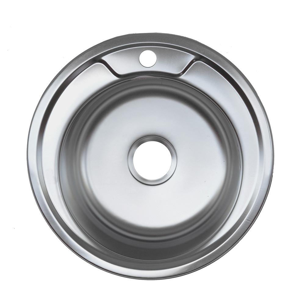 Мойка врезная из нержавеющей стали 510*510*180 круглая c евросифоном 0,6 мм Platinum ДЕКОР