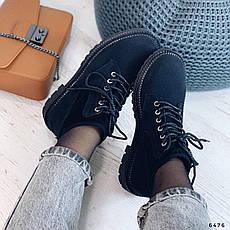 Ботинки женские черные, демисезонные из эко замши. Черевики жіночі чорні з еко замші утеплені, фото 3