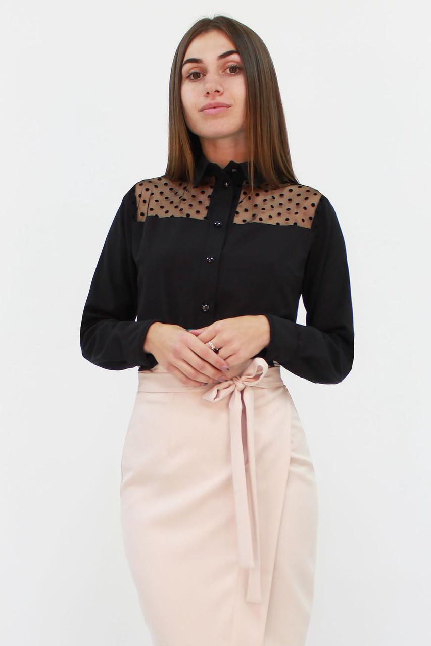 S, M, L, XL | Класична жіноча блузка Brenda, чорний