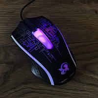 Игровая проводная мышка F8 с Led подсветкой 3200 dpi USB 2.0 геймерская и компьютерная мышь черная