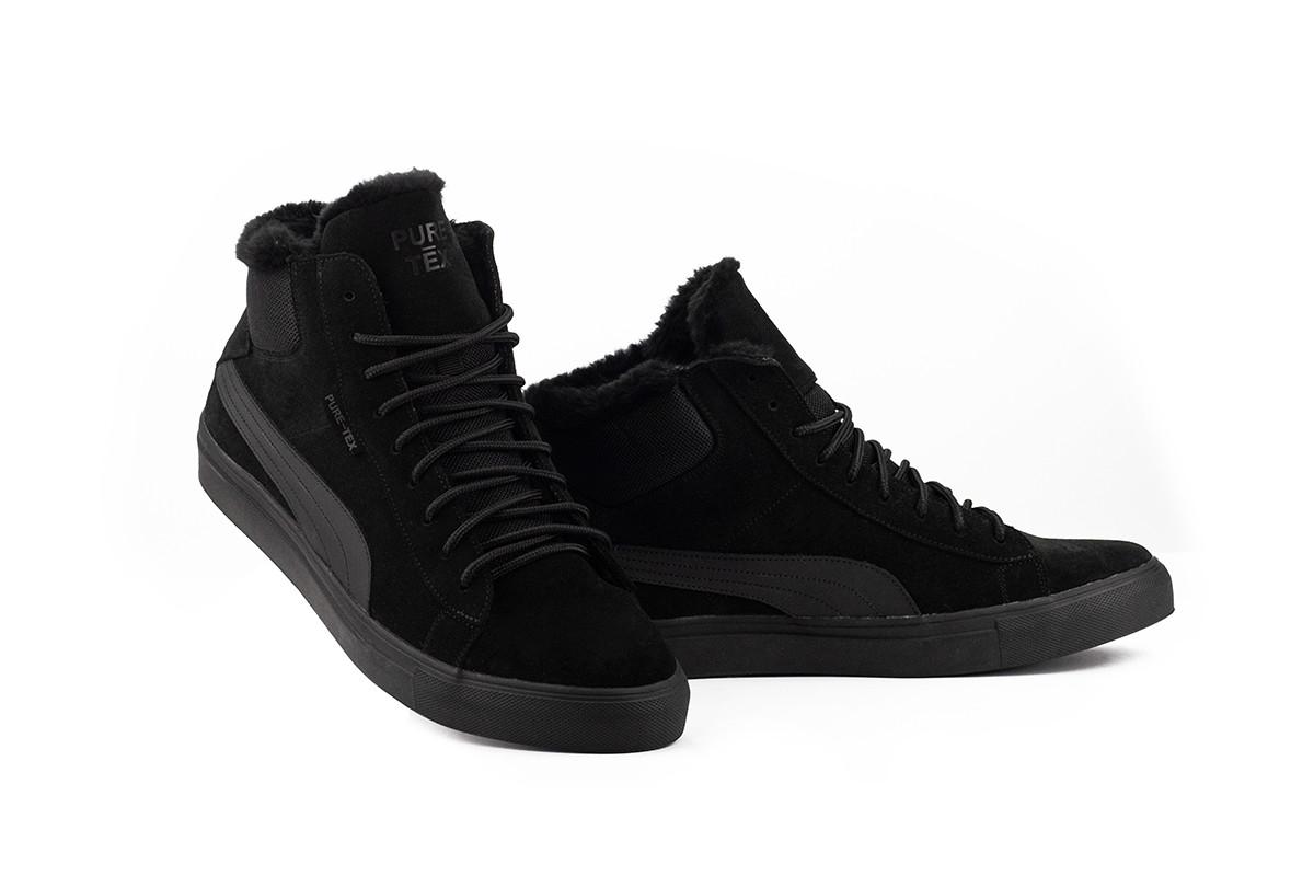 Чоловічі черевики замшеві зимові чорні