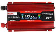 Преобразователь UKC авто инвертор 12V-220V 500W LCD KC-500D + USB Red (3738)
