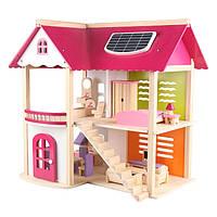 Деревянный двухэтажный детский домик с мебелью аксессуары для кукол и пупсов