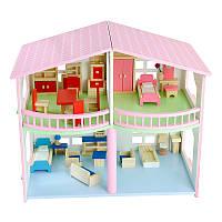 Развивающая деревянная игрушка. Деревянный двух этажный кукольный домик для девочки аксессуары для кукол