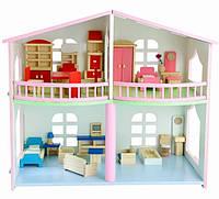 Деревянный двухэтажный кукольный домик для девочки аксессуар для кукол и пупсов