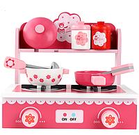 Деревянная игрушка детская игровая мини кухня розовая