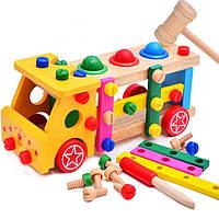 Деревянная игрушка машинка и инструменты для самых маленьких