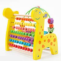 Детская деревянная развивающая игрушка счеты жираф подарок для мальчика и девочки