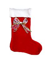 Новогодний мешок для конфет и подарков «Новогодний носок с бантом»