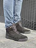 Мужские ботинки замшевые зимние черные, фото 6