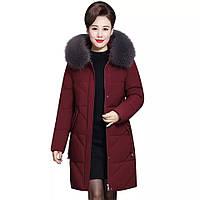 Куртка женская стеганая с капюшоном и меховой отделкой, бордовая, фото 1