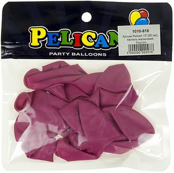 """Набір кульок повітр. 10""""/26см пастель малиновий 10шт №1010-816/Pelican/(1)"""