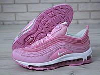 Кроссовки женские Nike Air Max 97 в стиле Найк Аер Макс, натуральная кожа, код KD-11528. Розовые