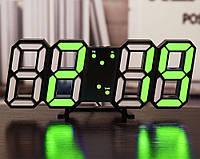Электронные настольные LED часы с будильником и термометром LY-1089 Black (зеленая подсветка) (6801)