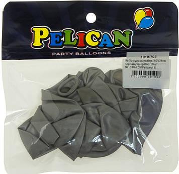 """Набір кульок повітр. 10""""/26см перламутр срібло 10шт №1010-705/Pelican/(1)"""