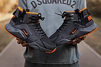 Кроссовки мужские зимние Nike Air Huarache Acronym черные, Найк Хуарачи, нубук, термо, код IN-672