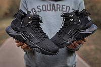 Кроссовки мужские зимние Nike Air Huarache Acronym черные, Найк Хуарачи, нубук, термо, код IN-671