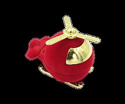Футляр бархатный для кольца Вертолет красный