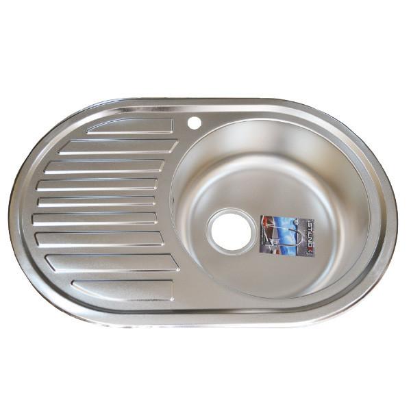 Мийка врізна з нержавіючої сталі 770*500 кругла c евросифоном 0,6 мм Права Stilnox ДЕКОР
