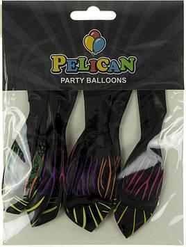 """Набір кульок повітр. 12""""/30см """"Візерунки"""" чорний 5шт №1205-515/Pelican/(1)"""