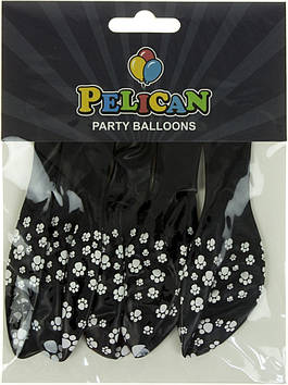 """Набір кульок повітр. 12""""/30см """"Лапки"""" чорний 5шт №1205-516/Pelican/(1)"""