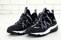 Кроссовки мужские Nike Air Max 270 Bowfin в стиле Найк Аер Макс, натуральная кожа, KD-11827. Черные с серым