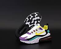 Кроссовки женские Nike Air Max 270 React в стиле Найк Реакт, текстиль, код KD-12128. Разноцветные