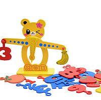 Деревянная развивающая обучающая игрушка фруктовый баланс