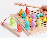 Деревянная развивающая обучающая игрушка рыбалка