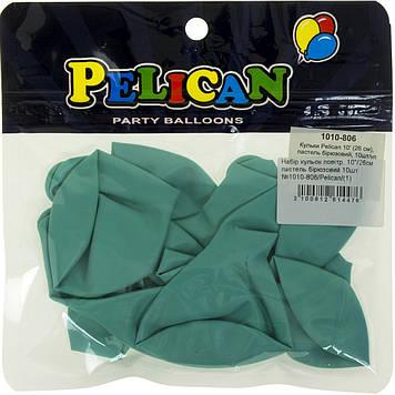 """Набір кульок повітр. 10""""/26см пастель бірюзовий 10шт №1010-806/Pelican/(1)"""