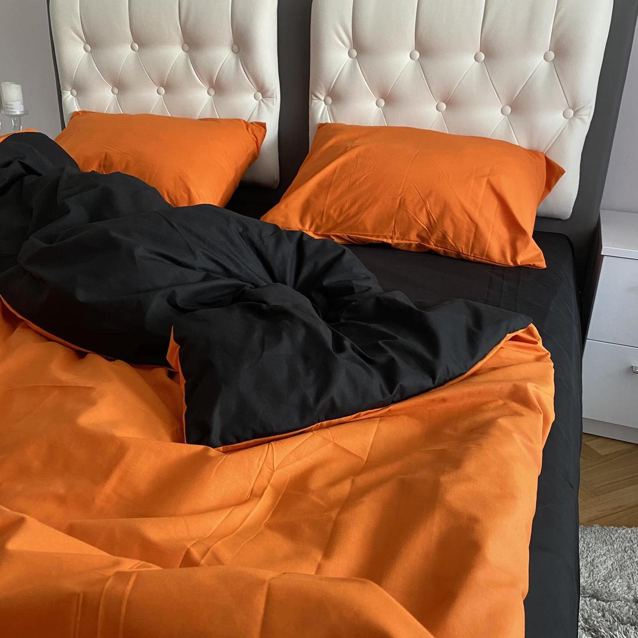 Комплект постельного белья Бязь Ранфорс  Черно - оранжевый