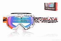 Очки кроссовые  VEMAR  #VM-1016C/#QU1026, оранжево-черно-белые,  визор тонированный