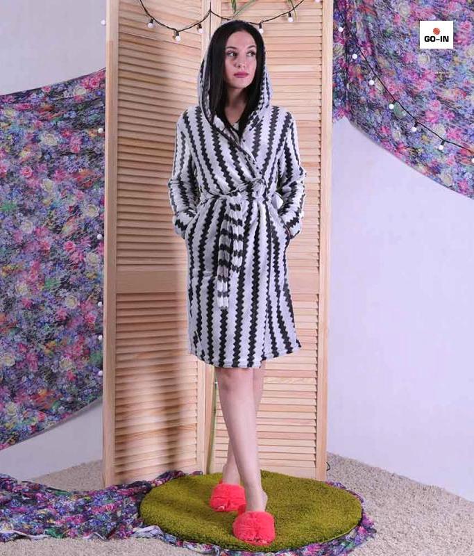 Махровий Халат жіночий короткий з капюшоном чорно-білий р. 42-52