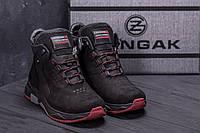 Спортивные кожаные мужские ботинки зима на шнуровке