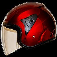Мотошлем FXW HF-200 solid red открытый шлем полулицевик красный глянцевый, фото 1