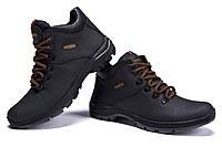 Кожаные зимние мужские ботинки на шнуровке