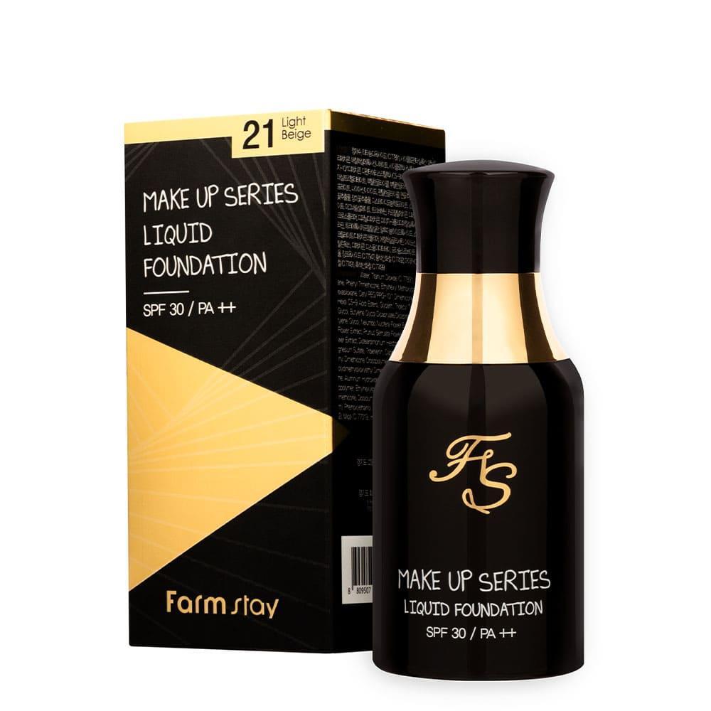 Тональная основа с цветочным экстрактом Farmstay Make Up Series Liquid Foundatoin SPF30 40 мл #21 Light Beige