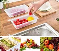 Контейнер с сеткой для хранения продуктов пластиковый
